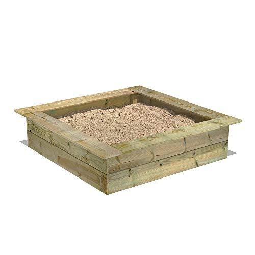 FATMOOSE Sandkasten Holz Sandkiste PowerPit 120 x 120 cm