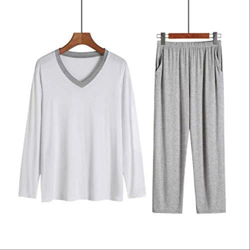 XFLOWR Langarm Herren Schlaf & Lounge Pyjama Man Modal Pyjama Set Pyjama Casual Home Anzug V-Ausschnitt Nachtwäsche Herren Plus Size XXL hellgrau