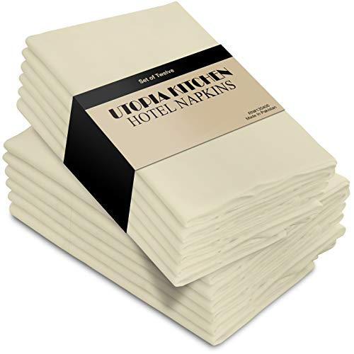 Utopia Kitchen Cloth Napkins 18 by 18 Inches, 12 Pack Ivory Dinner Napkins, Cotton Blend Soft Durable Napkins