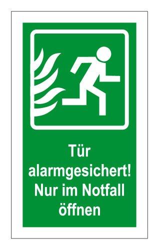 Rettungswegschild - Tür alarmgesichert! Nur im Notfall öffnen - Selbstklebende Folie - 10 x 20 cm