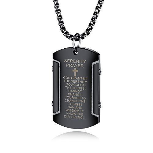 Blankspace Acero inoxidable versos hombres cuadrados colgante titanio acero bíblica cruz marea hombre collar