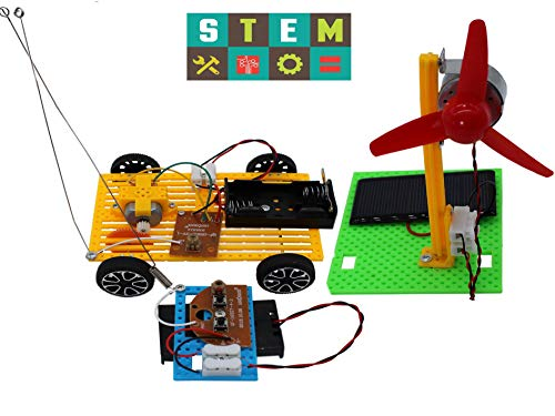Science Kits,2 Set Educational Engineering DIY Stem Products for Kids or Teens-Solar Powered Panel Fan,Model Car,Building Lab Experiments and Explorer Kits for Boys and Girls. (SC-A)