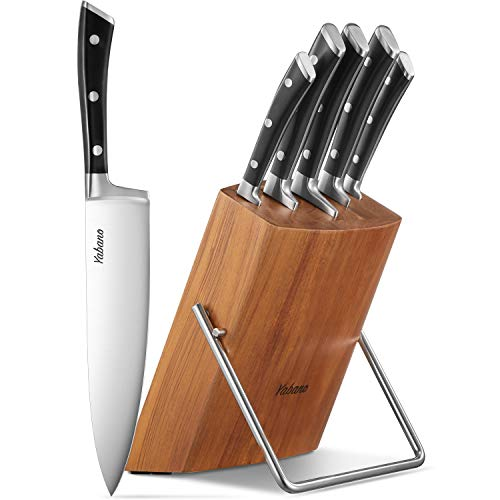 Kitchen Knife Set High Carbon Stainless Steel 6-Piece Knife Set, Super Sharp, Upgraded Anti-rust Cutlery Knife Set with Wooden Block, Dishwasher Safe, by Yabano
