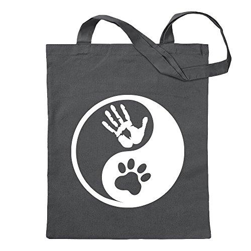 Kiwistar Beastman – Yin y Yang Bolsa de yute – Proverbios impresos que cuentan modelos Bolsa de fitness con forma de bolsa de algodón colgada de un mango largo Gris Size: 30cm
