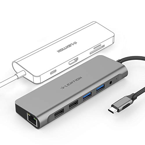 LENTION USB C 10-in-1 Hub with 4K HDMI, Card Readers, Gigabit Ethernet, Charging, USB 3.0 & 2.0, Aux Adapter Compatible MacBook Pro (Thunderbolt 3 Port), New Mac Air, Win Laptops, More (Space Gray)