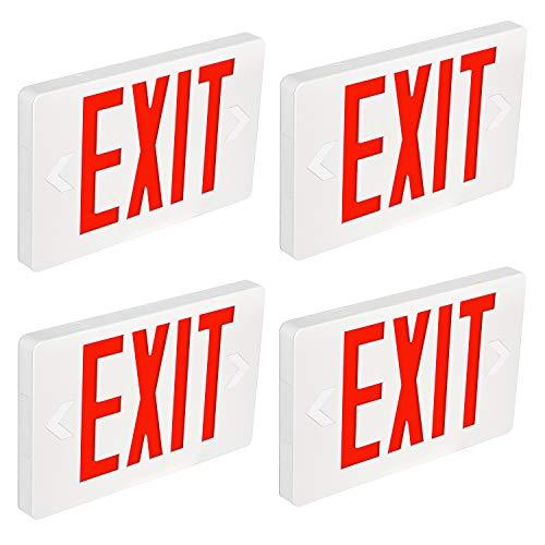 Hykolity LED Exit Sign, Red Letter Emergency Exit Lights, 120V-277V Universal Mounting Double Face - 4 Pack