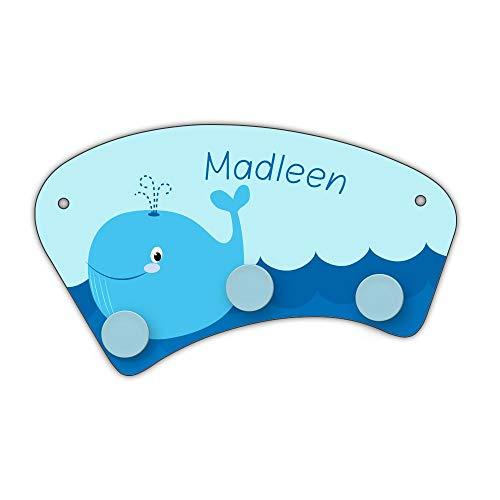 Eurofoto Wand-Garderobe mit Namen Madleen und Blauwal-Motiv für Mädchen | Garderobe für Kinder | Wandgarderobe