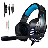 PS4 Gaming Headset with Mic for PC, Xbox One S, Laptop, Mac, Stereo Over Ear Gamer Headphones with Microphone...