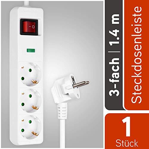 HEITECH 3 fach Steckdosenleiste mit Überspannungsschutz - GS geprüfte Mehrfachsteckdose mit Schalter, Kindersicherung, 1,4 Meter Kabel, 4500A, 3680W - Steckerleiste Mehrfachstecker