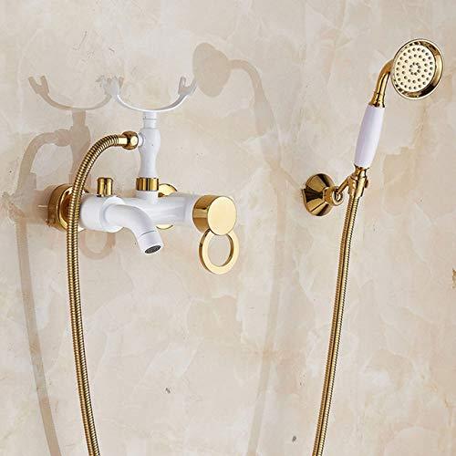 AXIANNV Duschkopf Gold und Weiß Bad Wasserhahn Doppelgriffe Wandmontage Telefon Form Bademantel Wasserhahn Messing Mischbatterie mit Handbrause, B1