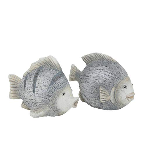 CasaJame Deko Fische, Fisch Figuren in grau für Badezimmer, Tischdeko, Gartendeko aus Terrakotta, 2er Set, 19x10x14cm
