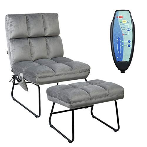 Giantex Massage Chair with Ottoman, 5 Vibration Modes & 4 Massage Motors, Velvet Fabric-Nice to Touch, Remote Control and Side Pocket, Electric Massage Sofa Couch for Living Room Bedroom