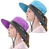2 Pieces 5-14Y Kids Summer Sun Hat Wide Brim UV Protection for Girls Ponytail Beach Bucket Cap (Purple&Sky Blue)