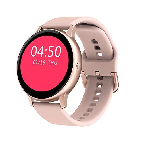 Qianghua Reloj Inteligente 1.2 ″ Pantalla táctil Completa Impermeable IP67 Reloj de Fitness con Ritmo cardíaco Monitor de sueño Podómetro Cronómetro Rastreador de Ejercicios,Rosado
