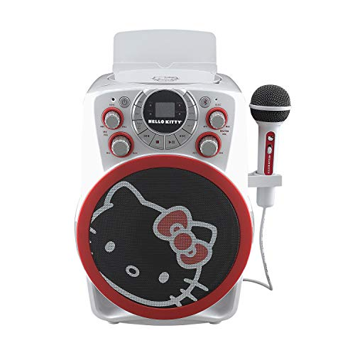 Hello Kitty Bluetooth CDG Karaoke Machine with LED Disco Party Lights, Built in Microphone for Kids, Portable Bluetooth Speaker, AVC, CDG Disks, Compatible with Samsung Apple Tablets MP3 and TV