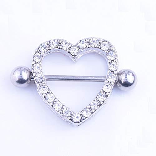 Allergy-free Stainless Steel Nipple Ring Heart Shape Rhinestone Nipple Barbell Tongue Rings Body Piercing Jewelry White