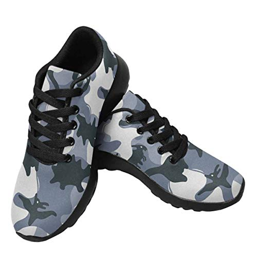 InterestPrint Womens Jogging Sneakers Outdoor Sport Cross Training Shoes Camouflage Army Pattern with Dinosaurs US14