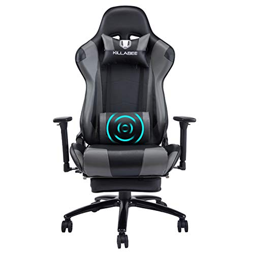 KILLABEE Gaming Stuhl mit Fußstützen und Massage Ergonomischer Computerstuhl mit hohe Rückenlehne Bürostuhl Schreibtischstuhl