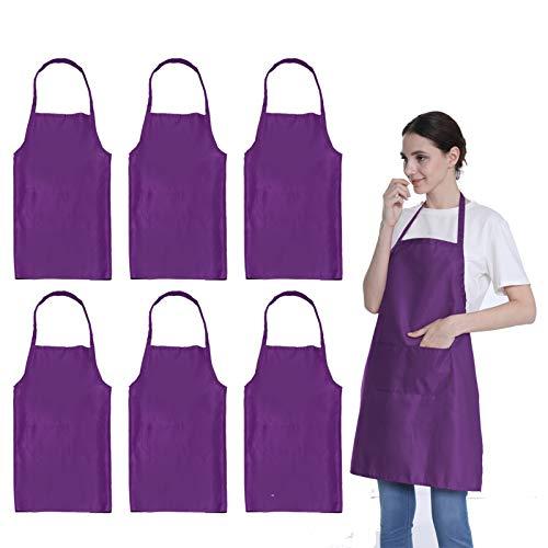 LOYHUANG Plain Purple Color Bib Aprons Bulk Adult for Women Men Unisex Chef Apron with 2 Pockets for Cooking Baking Kitchen Restaurant Crafting (Purple,6pcs-size24'X28')'