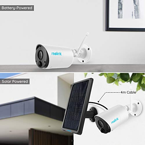 Reolink Solar Security Camera Outdoor Rechargeable Battery Powered Wireless WiFi CCTV Camera 1080P PIR Motion Detection 2-Way Audio Micro SD Card Slot Wire-Free IP Camera, Argus Eco with Solar Panel
