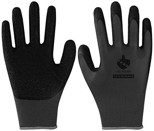 10 Paar Freiherr Tatendrang Arbeitshandschuhe - Schutz-Handschuhe für die Arbeit - EN 388 - Grau/Schwarz - 09/L