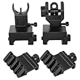Flip Up Iron Sights Front Sight and Rear Sight with Adjustment & 2-Pack Rail Mount for 20mm Rail