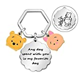 Winnie The Pooh and Piglet Quote Any Day Spent with You is My Favorite Day Keyring, Birthday Christmas Friendship Gifts Keyring for Best Friends