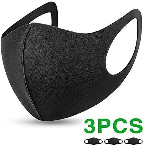 Flyglobal Máscara Antipolvo para la Boca, Reutilizable, Lavable, Unisex, Color Negro (3 pcs)