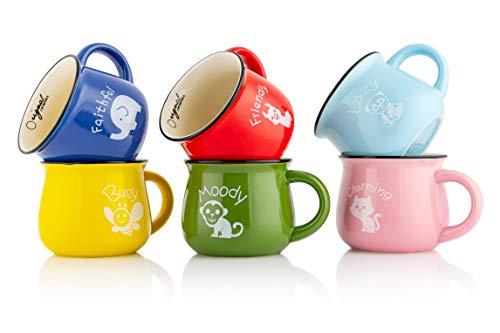 Mary\'s KITCHEN TOOLS 6er Tassenset | 350ml | Handgemachte | Keramiktassen | mit Tiermotiven | Familientassen & Kindertassen | für Kaffee & Tee | Bunt Retro Design (Mit Motiv)