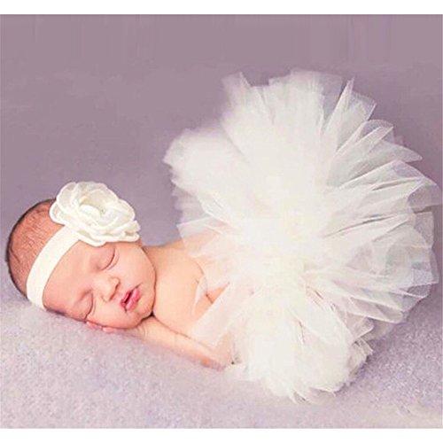 Hengsong Neugeborenes Baby Rock Tutu Kleidung Trikot Kostüm Foto Prop Outfits Bekleidung Set (Beige)