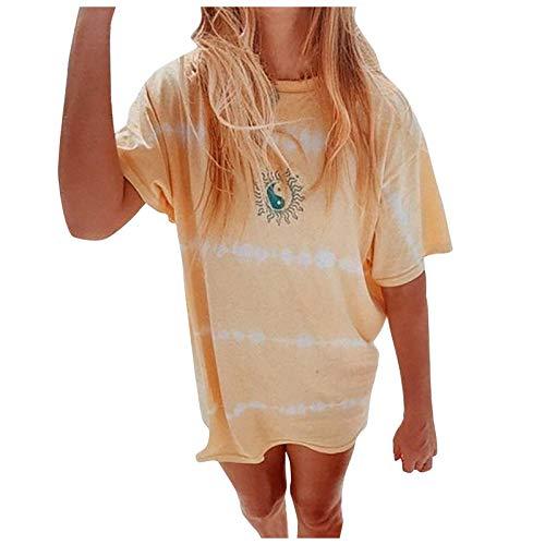YANFANG Camiseta Estampada de Manga Corta con Cuello Redondo Suelto Informal para Mujer Top de Gran tamaño,Larga Sudadera Casual Top Túnica Tops Jersey Largo