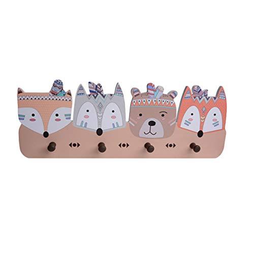 Dooxii Perchas Decorativo para Animal de Dibujos Animados y Coche con 4 Ganchos Perchero de Pared Perchero para niños (Estilo#3, Longitud*Altura: 50 * 18cm)