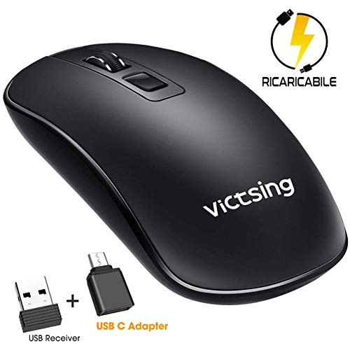 Mouse Wireless Ricaricabile USB, VicTsing Mouse senza Fili Clic Silenzioso - DPI Regolabile - Adattatore USB C Incluso, Ultrasottile Portatile per Via