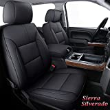 Coverado Chevy Silverado GMC Sierra Seat Covers, Waterproof Leather Truck Seat Protectors Custom Fit Full Set, Compatible with 2007-2018 1500 2500HD 3500HD GMC Sierra (Full Set, Black)