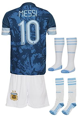 Summersport Argentinien Messi # 10 Fan Shirts Heim Trikot und Shorts mit Socken Kinder und Jugend Größe