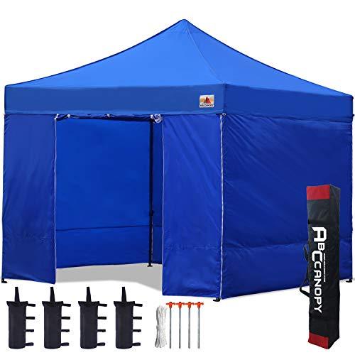 ABCCANOPY - Cenador plegable para patio de 2,5 x 2,5 cm, totalmente impermeable, resistente, con 4 paredes y bolsa de rueda, azul