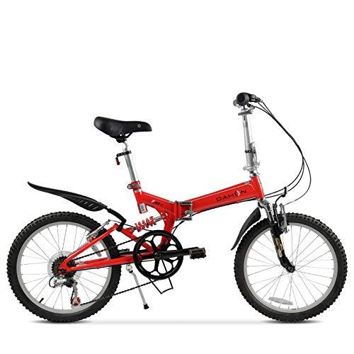 LXLTLB Klappfahrrad Geeignet Höhe 160-180cm Variable Geschwindigkeit Unisex Folding City Bike Scheibenbremse Tragbar Doppelte Stoßdämpfung,Rot