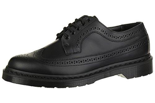Dr. Martens 3989 Black Smooth Wingtip Brogue Men Black Leather Shoes, Numero di Scarpe:EUR 40