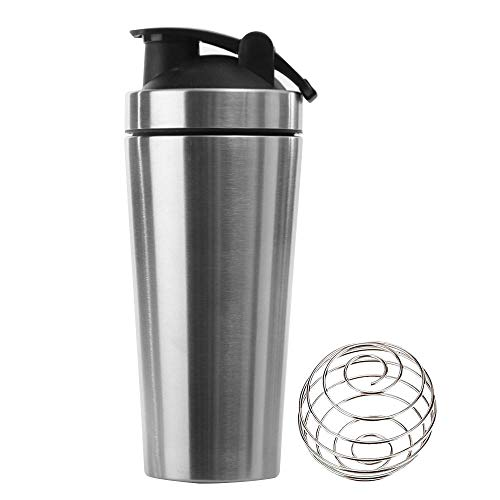 KAIYAN Stainless Steel Protein Powder Shaker Cup Protein Shaker 1L Large Capacity Diet Shakes Mixing Bottle Leak-Proof Fitness Shaker Training Water Bottle to Go Drinking Cup Silver