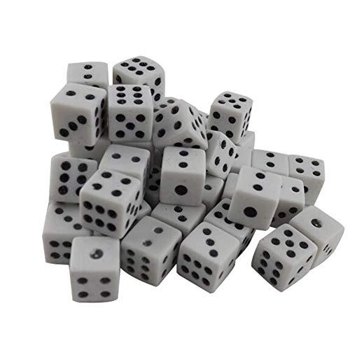 DDG EDMMS 100 Stück 8mm weißer Würfel mit schwarzen Noppen Punkten für Brettspiele, Aktivität, Kasino-Thema, Party-Bevorzugungen, Spielzeug Geschenke