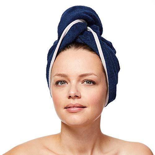 Sowel® Toalla turbante de 100 % algodón orgánico con botón, para mujer, color azul marino y gris