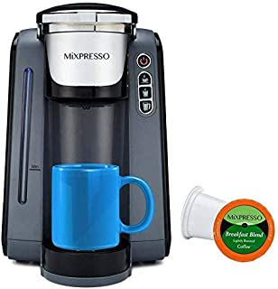 Mixpresso - Single Serve K-Cup Coffee Maker | Coffee Machine Compatible With 1.0 & 2.0 K-Cup Pods | Removable 45oz Water Tank | Quick Brewing with Auto Shut-Off | One Touch Function | In GREY & WHITE