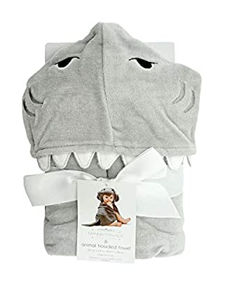 Manhattan Kids Baby Boy or Baby Girl Super Soft - Grey Shark Terry Cotton Hooded Towel.
