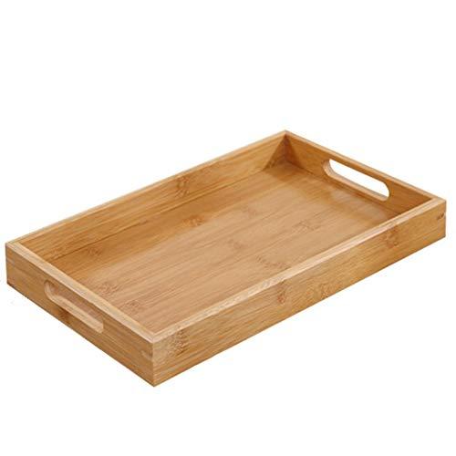 Trays Tablett rechteckig Startseite Steak Pizza Bambus Teller-Obst Massivholzplatte mit Holzplatte (2 Stück)