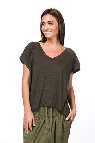Super.Natural T-Shirt imprimé à Manches Longues pour Femme avec Laine mérinos W Jonser LS Printed S Kaki mélangé