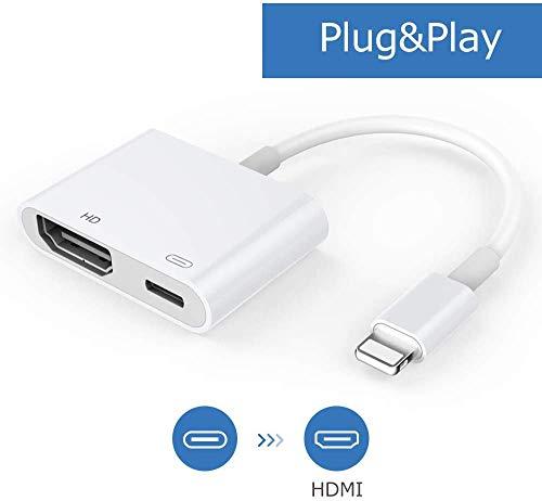 HDMI Kabel Adapter, 1080P Digital AV Adapter mit Buchse, HDMI Sync Bildschirmanschluss Kompatibel mit Telefon/Pad [Stromversorgung erforderlich] (Weiß)