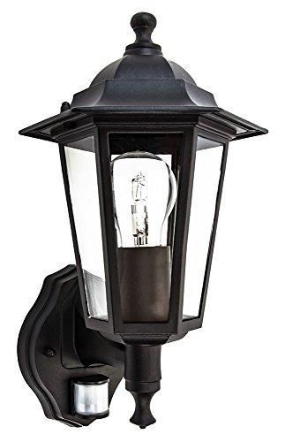 Traditionele sensor gestuurde buitenlantaarn wandlampfitting in mat zwart