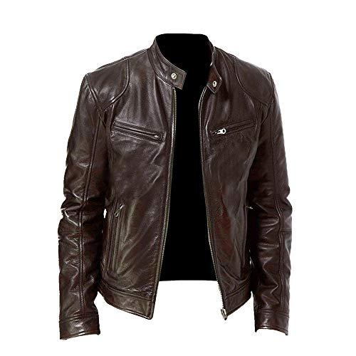 Chaqueta de cuero de la motocicleta de los hombres del otoño ajuste chaqueta de la cremallera casual