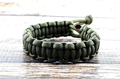 """Mad Max Fury Road Paracord Adjustable Survival Bracelet from Lifeline Outdoor Gear - OD Green - Size 6.5"""""""
