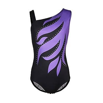 Girls Flame One Cold Shoulder Athletic Dance Gymnastic Leotards Bodysuit Outfit Purple & Black Size 12